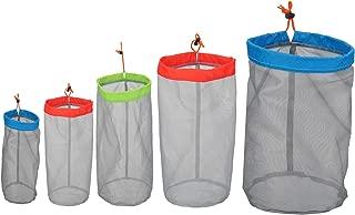 Alemon Small to XXLarge Stuff Sack Lightweight Nylon Mesh Drawstring Storage Bag for Travelling Hiking, Set of 5