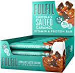 FULFIL Vitamin and Protein Snack Bar (15 x 55g Bars) — Chocolate Salted Caramel Flavour — 20g Protein, 9 Vitamins, Low Sugar
