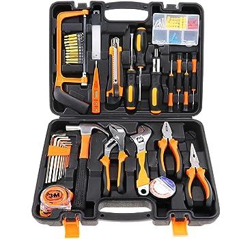 100 piezas Kit de caja de herramientas de bricolaje para reparación de casa con maleta: Amazon.es: Industria, empresas y ciencia