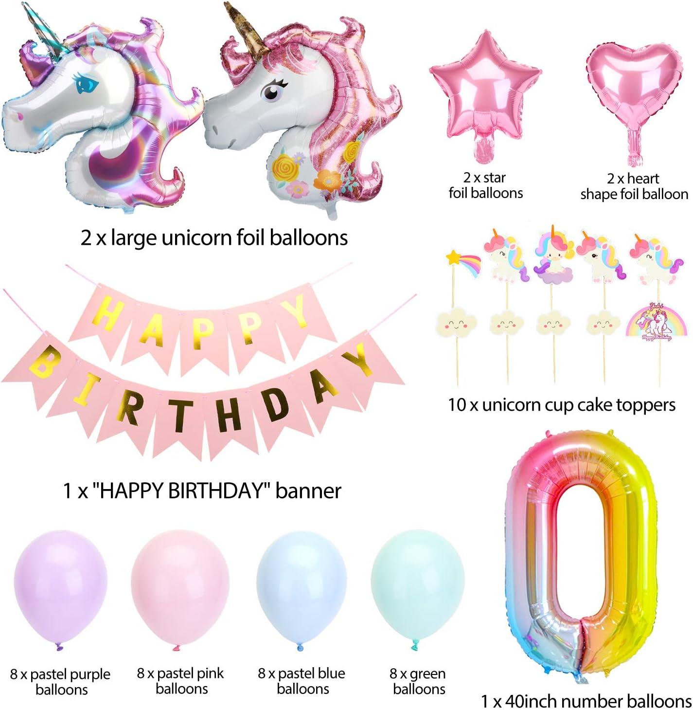 Unicorno Palloncini Compleanno Decorazioni Macarons Palloncini Torta Toppers KATELUO Decorazioni per Feste di Unicorno Palloncini Unicorno,Buon Compleanno Banner