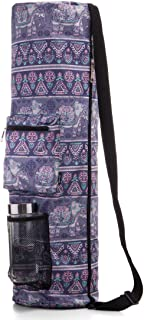 RoryTory Yoga Mat Bag w/Adjustable Strap, Water Bottle Carrier, Inner & Outer Pockets, Heavy Duty & Machine Washable - Fits Most Yoga Mat Sizes