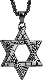 Magen Star of David Pendant Necklace Women Men Chain Silver Stainless Steel Israel Necklace