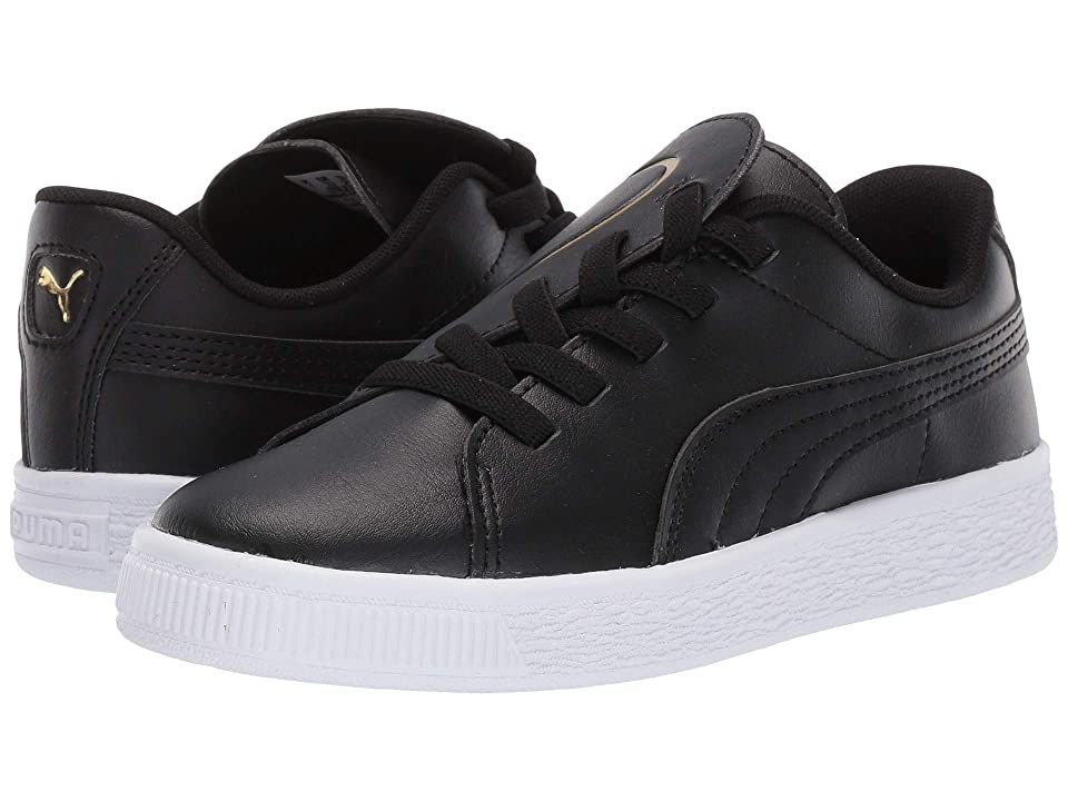 Puma Kids Basket Crush Slip-On (Little Kid) (Puma Black/Puma Team Gold) Girls Shoes