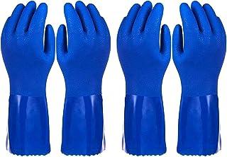 بسته 2 دستکش خانگی - دستکش ظرفشویی پنبه ای - دستکش ظرفشویی - دستکش لاستیکی - دستکش آشپزخانه ، آبی ، X-Large