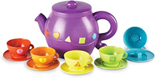 Learning Resources Serving Shapes Tea Set, Color Recognition and Counting Toy, 11 Pieces, Ages 2+,Multicolor
