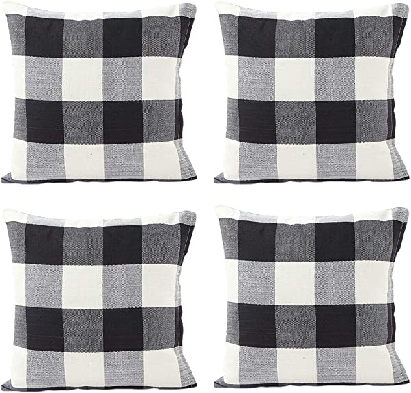 INSHERE Set Of 4 Decorative Plaid RetroThrow Pillow Covers Soft Cotton Linen Checkers Pillowcase For Home Sofa Bedroom Car Black White Plaids Cushion Cover 18 X 18 Inch