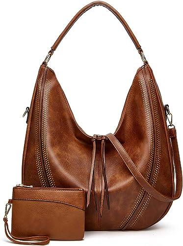 Large Shoulder Handbags for Women Boho Crossbody Bags Faux Leather Hobo purses with Tassel Ladies Retro Satchel Bags