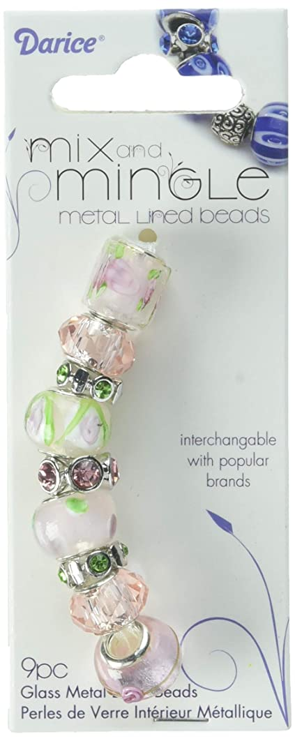 Mix N Mingle Glass Metal Lined Beads Pink