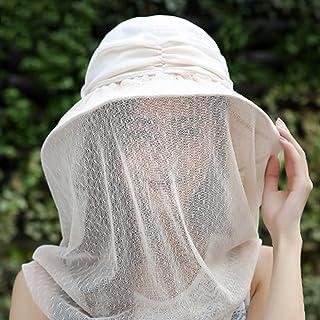 WN - Damas Sombrero para el Sol Velo removible cinturón para el Sudor Correas Ajustables protección para el Cuello Protector Solar Transpirable UV Transpirable Viaje al Aire Libre Ocasional/Negro, a