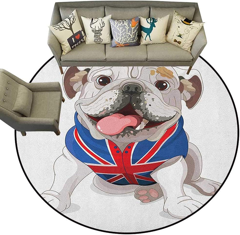 English Bulldog,Throw Rugs Happy Dog Wearing a Union Jack Vest Cartoon Style Animal Design D36 Non-Slip Bath Hotel Mats