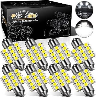 Partsam 8Pcs White 31mm Festoon Canbus Error Free LED Light Bulbs for Interior Lights Map Dome Door Courtesy Light Bulbs DE3021 3175