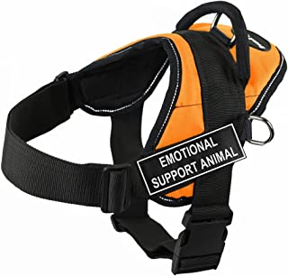 "Dean & Tyler Fun""Emotional Support Animal"" Large Orange Harness with Reflective Trim"