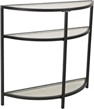 Spatial Order Half-Moon Modern Metal and Glass Accent Table, Black