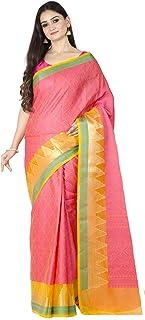 ساري Chandrakala للنساء مزيج قطني ريشام عمل ساري هندي تقليدي مع بلوزة غير مخيطة، لون خوخي (1386PEA)