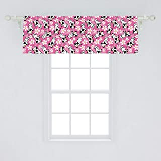Lunarable Cow Window Valance, Cartoon Pattern with Domestic Farm Animal and Daisy Flowers, Curtain Valance for Kitchen Bedroom Decor with Rod Pocket, 54