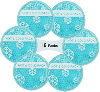 Small Hot Cold 6 Packs, Reusable Breastfeed Injury, Kids Pain Relief, Headache, Tired Eyes, Instant Round Cold Ice Pack with Cloth Backing