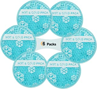 Small Round Hot and Cold Pack Gel Beads Filling & Cloth Backing - Ideal for Wisdom Teeth, Breastfeeding, Tired Eyes, Kids Injuries, Headaches, Sinus Relief. Use As Hot Or Cold Packs (Pack of 6)