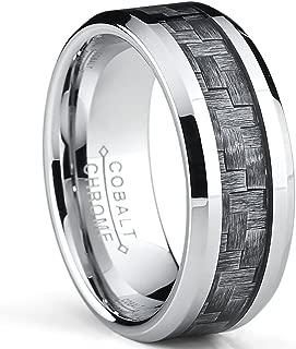 Metal Masters Co. High Polish Cobalt Men's Wedding Band Engagement Ring W/Gray Carbon Fiber Inlay, Comfort Fit 8MM