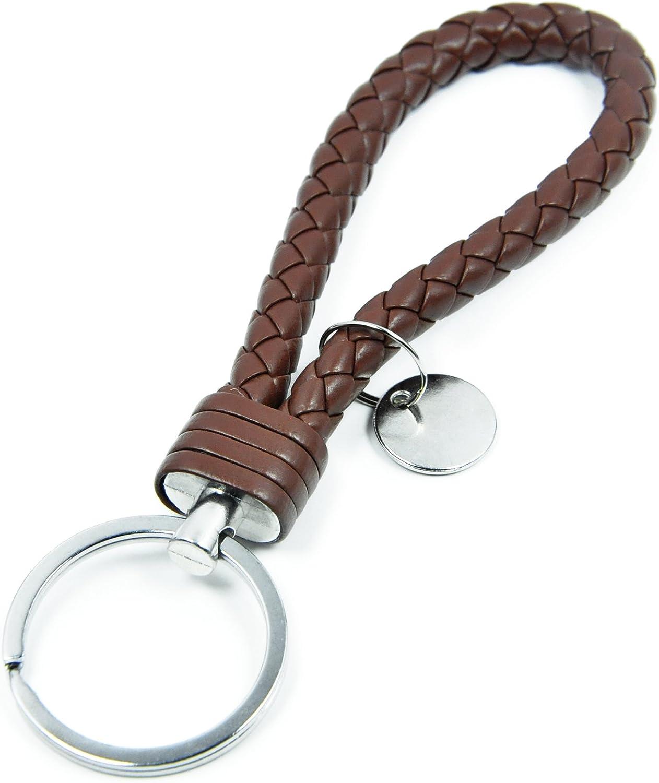 Fashion Braided PU Leather Strap Keyring Key Chain Key Fob Various Car models.