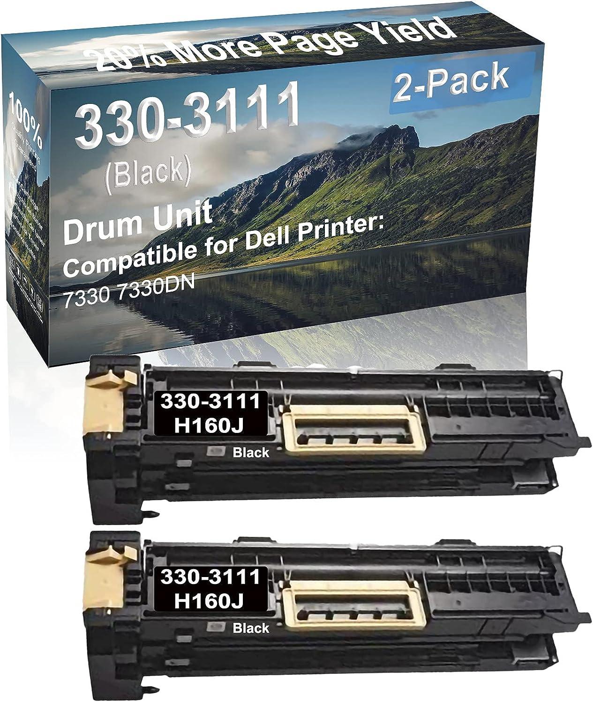 2-Pack (Black) Compatible 7330 7330DN Printer Drum Unit Replacement for Dell 330-3111 H160J Drum Kit