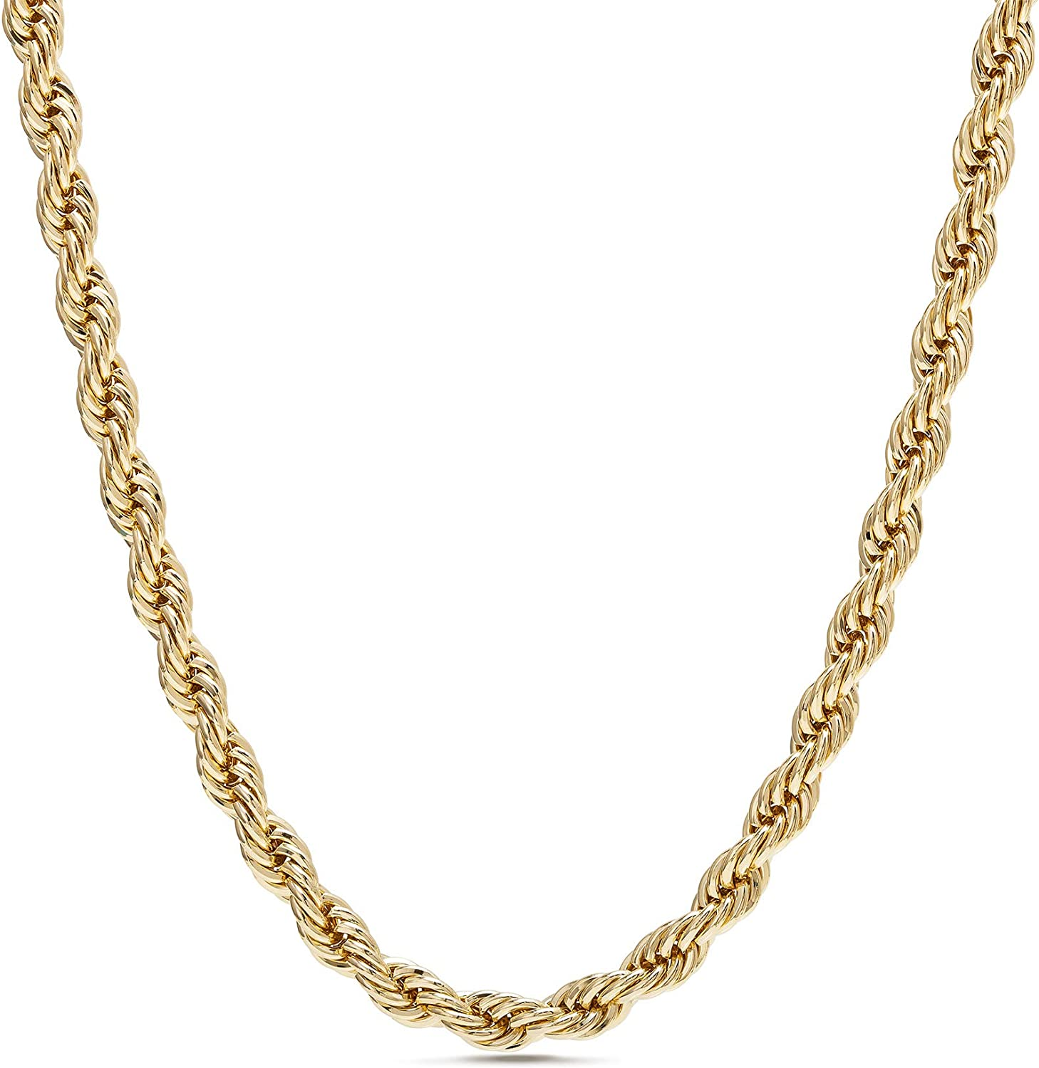 Nautica 2mm - 8mm Rope Chain Necklace for Men or Women in Yellow Gold Plated Brass