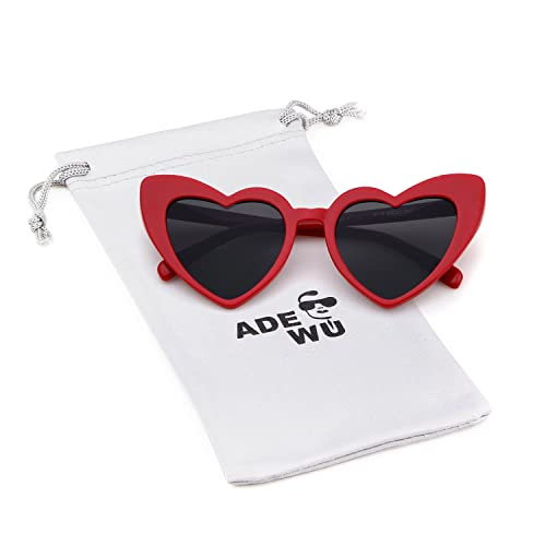 4ad0cca928 ADEWU Love Heart Sunglasses Women Girls Fashion Retro Cateye Glasses UV400