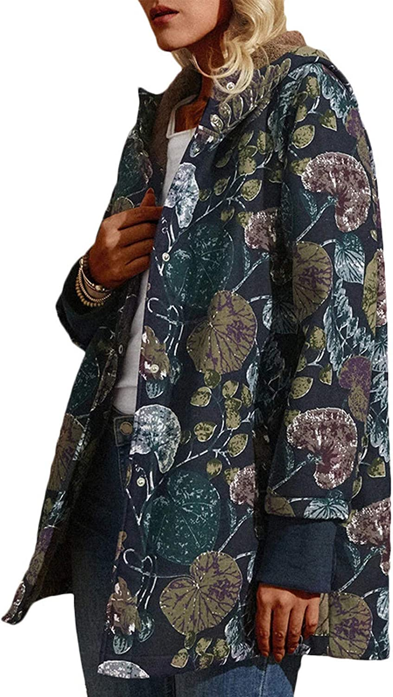 YSLMNOR Flowers Coat Albuquerque Mall Womens Fleece Super-cheap Vintage Plus Si Jacket Hooded