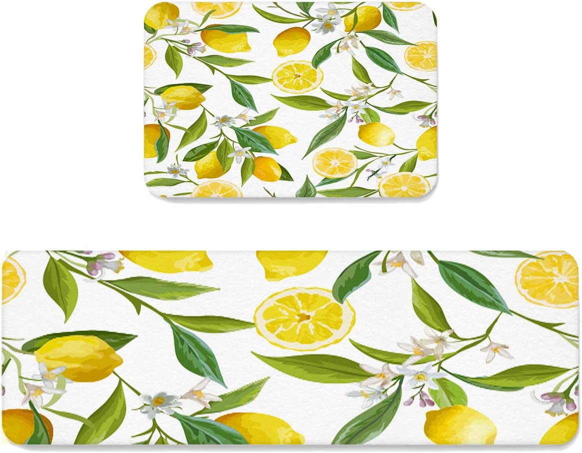 Homewarm 2 Pieces Kitchen Rugs and Mats, Summer Yellow Non-Slip Anti Fatigue Rug, Absorbent Carpet for Laundry Bathroom Living Room 15.7x23.6in+15.7x47.2in Lemon Branch Illustration