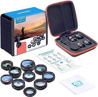 APEXEL 10 in 1 Phone camera Lens Kit Fisheye Wide Angle macro Lens CPL Filter Kaleidoscope and 2X telescope Lens for smart...
