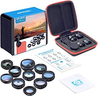 Apexel 10 in 1 Cell Phone Camera Lens Kit Wide Angle Lens & Macro Lens+Fisheye Lens+Telephoto Lens+CPL/Flow/Radial/Star Filter+Kaleidoscope 3/6 Lens for iPhone Samsung Sony and Most of Smartphone