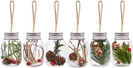6-Pack of Christmas Tree Decorations - Hanging Glass Decorations with Tin Lids, Ornate Christmas Ornaments with Jute Strings, Festive Embellishments, 6 Assorted Designs - 1.57 x 2.63 x 1.57 Inches
