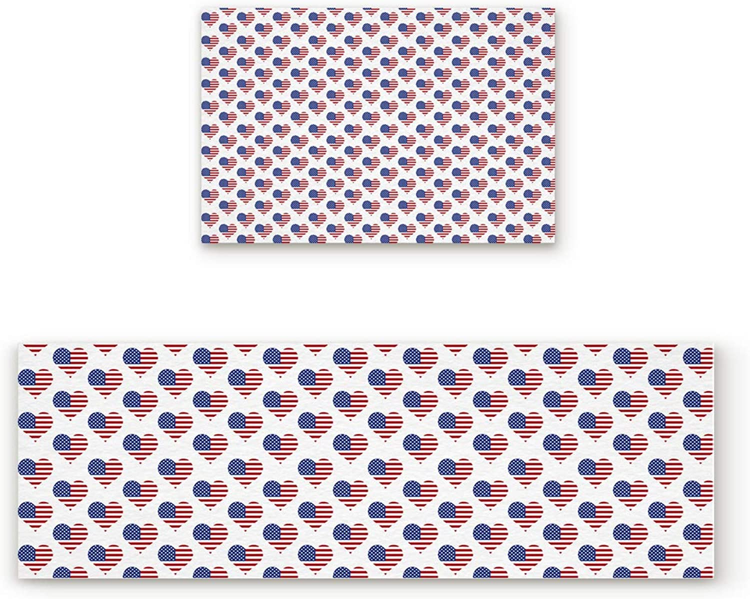 SODIKA Non Slip Kitchen Rug Set 2 Piece, Floor Mat Carpet Runner,American Flag in The Shape of Heart (19.7x31.5in+19.7x63 inches)