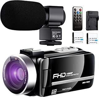 【Full Upgrade】 Ultra HD Video Camera Camcorder with Powerful Microphone 1080P Vlogging YouTube Camera Remote Control IR Night Vision 3.0