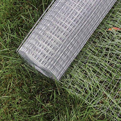 WilTec Malla Alambre metálica gallinero Cierre metálico galvanizado Rollo 1mx25m mallado 12x12mm Jardín