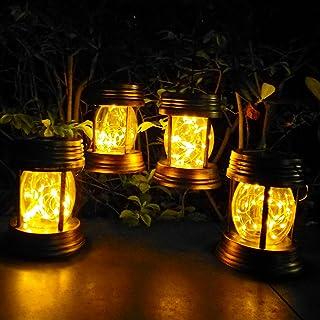 KOMILIFT 2 Pack Hanging Solar Lights Outdoor, Vintage Mini Solar Lanterns Outdoor Waterproof, 30 LED Solar Powered Lights ...