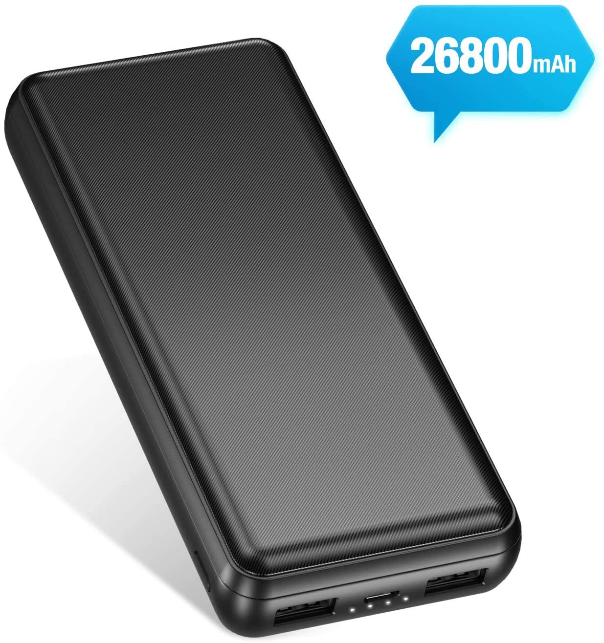 IEsafy 26800mAh Power Bank High Capacity Portable Charger with 2 Ports Ultra High Speed Battery Pack Phone Charger Backup Battery Compact for Smart Phone, Tablet and More