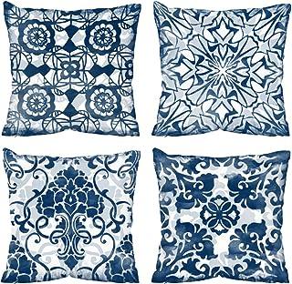 Vineland Boho Decorative Throw Pillow Covers Set of 4 18 x 18 Inch Bohemian Mandala Theme Farmhouse Decorative Throw Pillo...