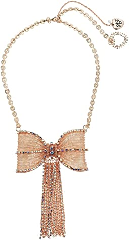 Betsey Johnson Rose Gold Pave Fringed Bow Necklace