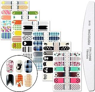 WOKOTO 6 Pieces Cartoon Nail Art Polish Sticker Tips With 1Pc Nail File Cat Adhesive Nail Wraps Decal Strips Manicure Kits