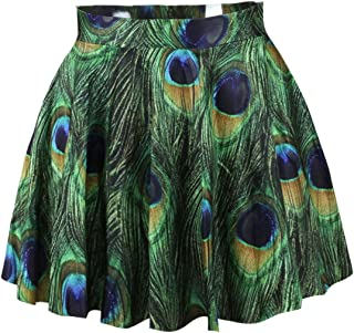 4398c880f7f LaSuiveur Women s Digital Print Stretchy Flared A Line Pleated Skater Skirt