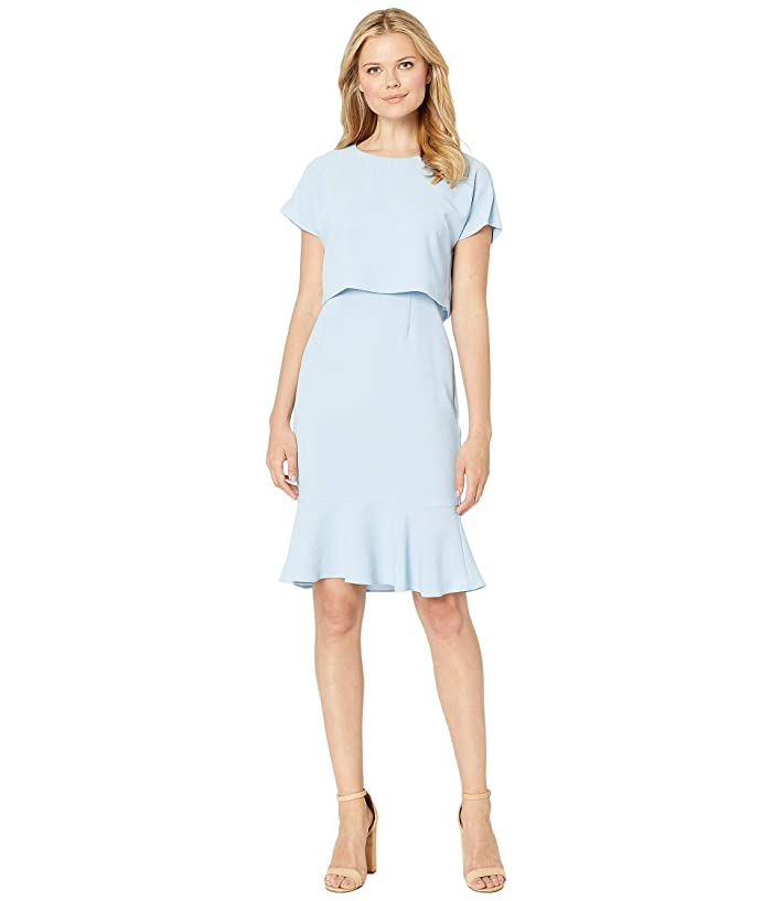 Adrianna Papell Cameron Crepe Woven Popover Dress (Blue Mist) Women