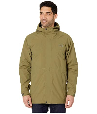 The North Face City Breeze Rain Parka (Burnt Olive Green/Burnt Olive Green Waxed Camo Print) Men