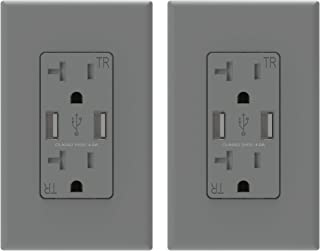 (2 Pack, Grey) ELEGRP USB Outlet Wall Charger, Dual High Speed 4.0 Amp USB Ports with Smart Chip, 20 Amp Duplex Tamper Resistant Receptacle Plug NEMA 5-20R, Wall Plate Included, UL Listed