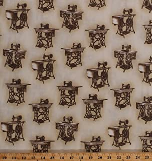 Cotton Sewing with Singer Antique Sewing Machine Vintage Machines Table Cabinet Sew Seamstress Cotton Fabric Print by The Yard (AGZ-15644-271-SEPIA)