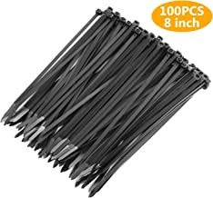 OAONAN Cable Zip Ties 100 Piece 8 Ultra Strong Plastic Wire Ties with 50 Pounds Tensile Strength Multi-Purpose Cable Tie for Home Office Garage Workshop Heavy Duty (Balck)