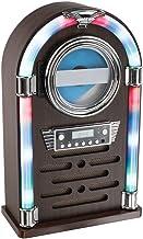 Bluetooth reproductor de CD como Jukebox Caja de música Radio Retro Cambio de color iluminación LED (mando a distancia, aspecto de madera, AUX-IN, altavoz, Smartphone)