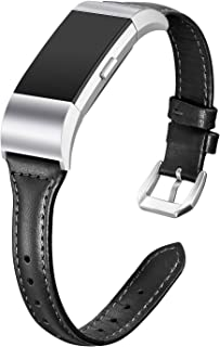bayite Bands Compatible with Fitbit Charge 2, Slim Genuine Leather Band Replacement Accessories Strap Charge2 Women Men