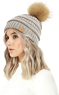 Aurya Cable Knit Pom Pom Beanie Womens Winter Warm Faux Fur Pompoms Bobble Ski Hat Cap