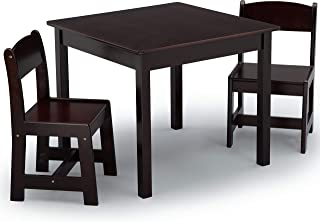 Delta Children MySize Kids Wood Chair Set and Table (2 Chairs Included), Dark Chocolate