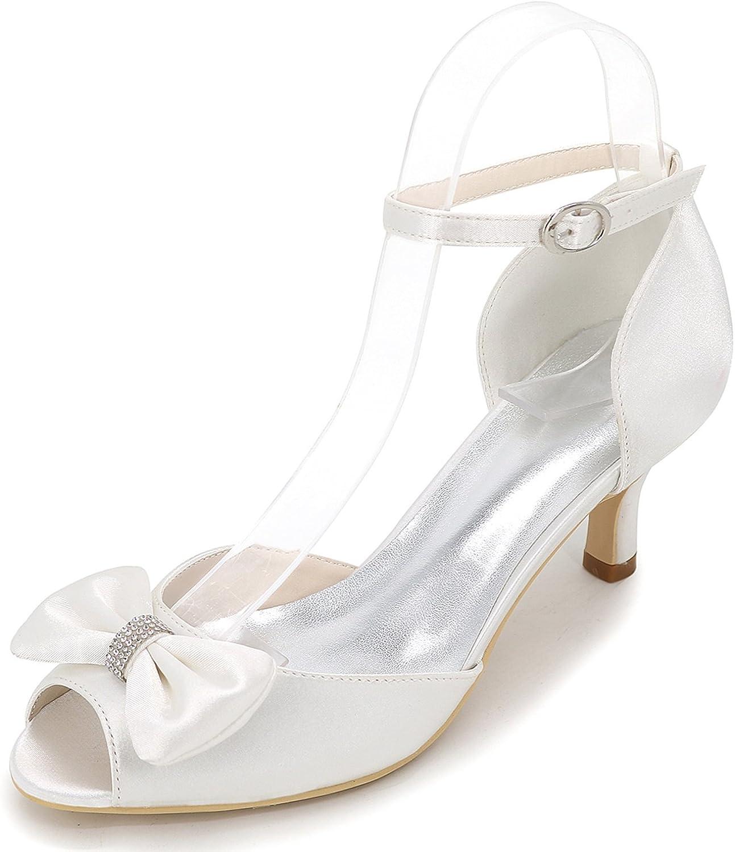 Elobaby Frauen Hochzeit Schuhe Schwarz Dunkelblau Satin Braut Plattform Herbst Peep Toe Buckle   6cm Ferse